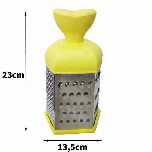 Ralador De Aço Inox 6 Faces Colorido Amarelo