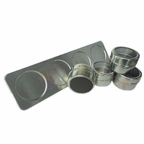 Porta Condimentos E Temperos 4 Potes Magnético Aço Inox