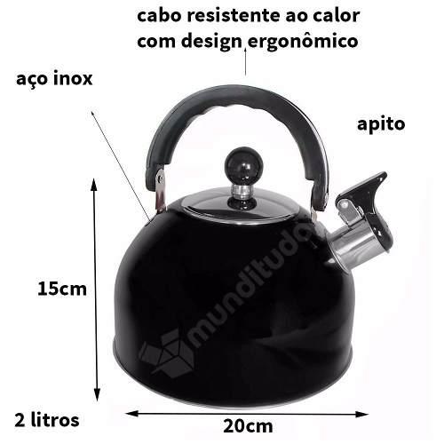 Chaleira De Aço Inox Com Apito Cores 2 Litros Preta