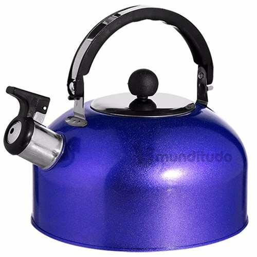 Chaleira De Aço Inox Com Apito Cores 2 Litros Azul