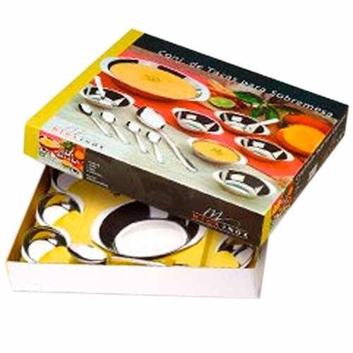 Conjunto Para Sobremesa Potes Colheres De Inox 14pcs Oferta