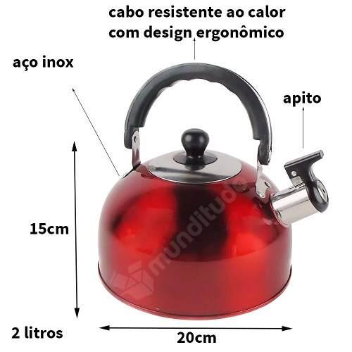 Chaleira De Aço Inox Com Apito Cores 2 Litros Vermelha