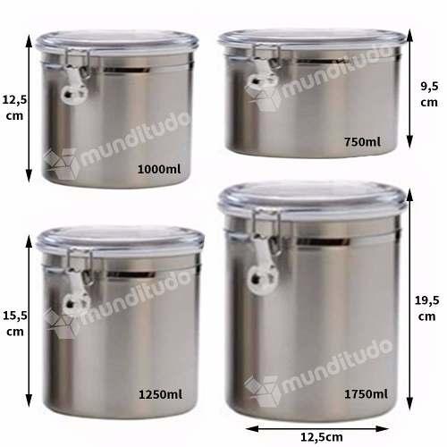 Conjunto De Potes Aço Inox Para Mantimentos 4 Peças Grande