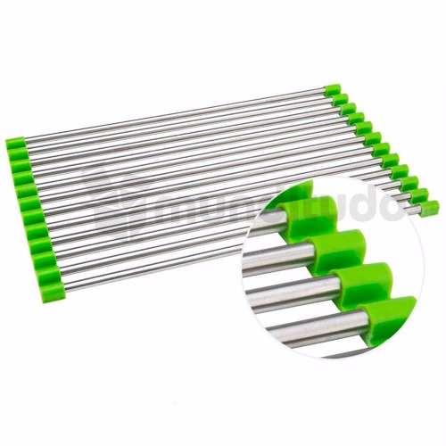 Escorredor Esteira Multiuso Dobrável Inox Silicone Verde