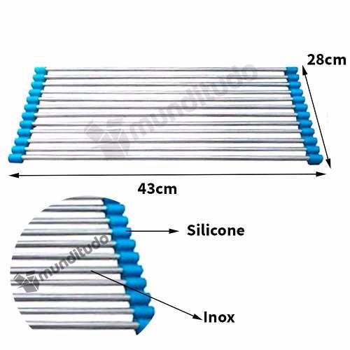 Escorredor Esteira Multiuso Dobrável Inox Silicone Azul R$ 39,90Remover