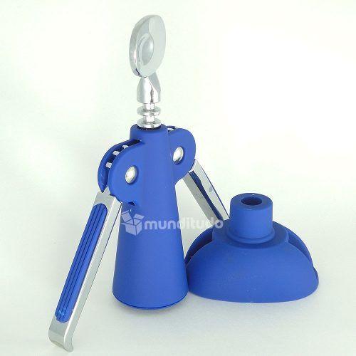 Saca Rolha Abridor Garrafa De Vinho Design Moderno Azul