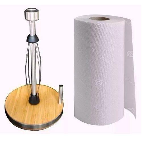 Porta Papel Toalha Suporte De Bambu E Inox De Qualidade