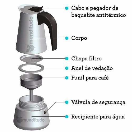 Cafeteira Italiana De Aço Inox 9 Xícaras De Café Expresso