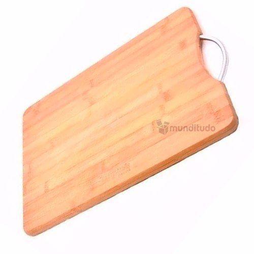 Tábua De Corte De Bambu Com Alça Metal 30cm X 20cm 140504