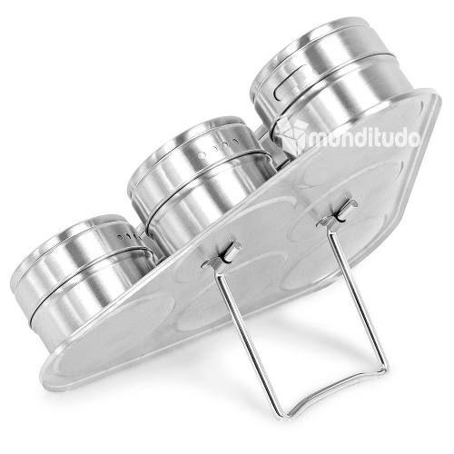 Kit 4 Porta Mantimentos + 12 Porta Temperos Magnético Inox