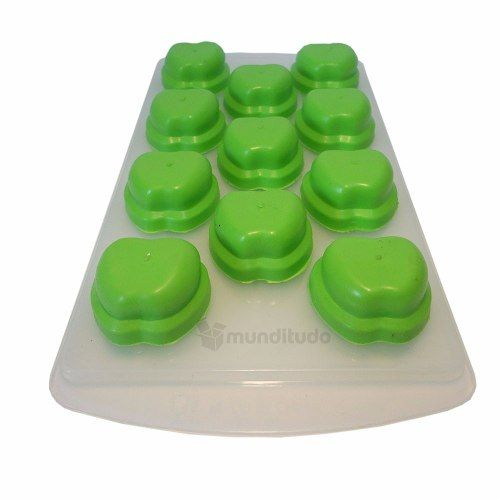 Forma De Gelo De Silicone Formato Maça Verde Oferta Barato