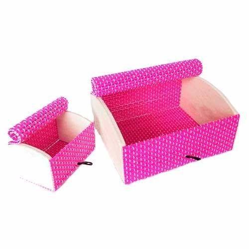 Organizador Porta Trecos De Madeira Kit 4 Peças Rosa