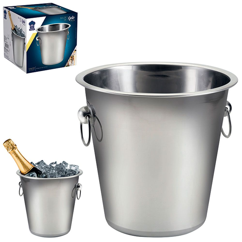 Balde De Gelo Para Bebidas de Aço Inox Capacidade 4,5 litros