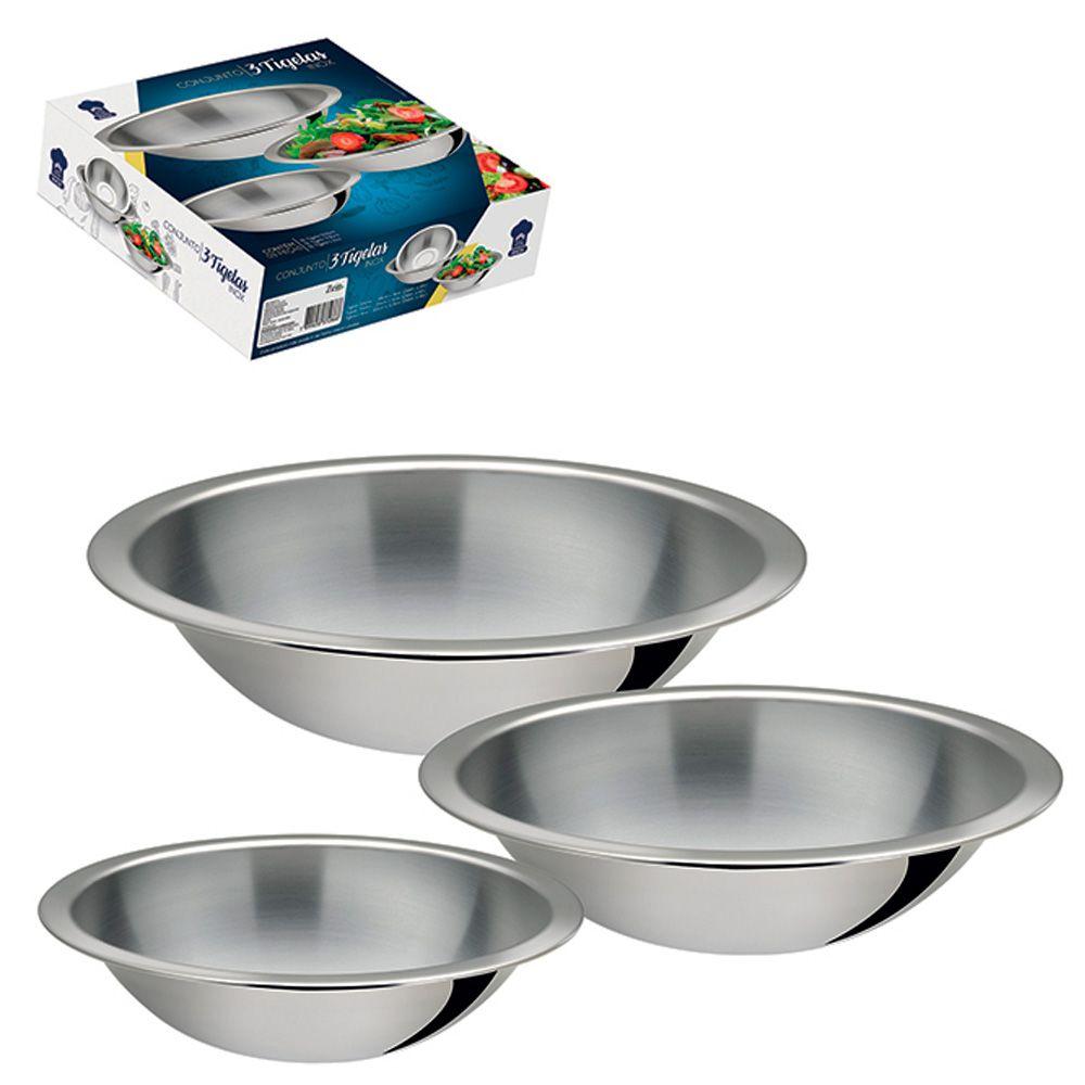 Conjunto De Tigelas Bowls Saladeira Em Aço Inox 3 Peças