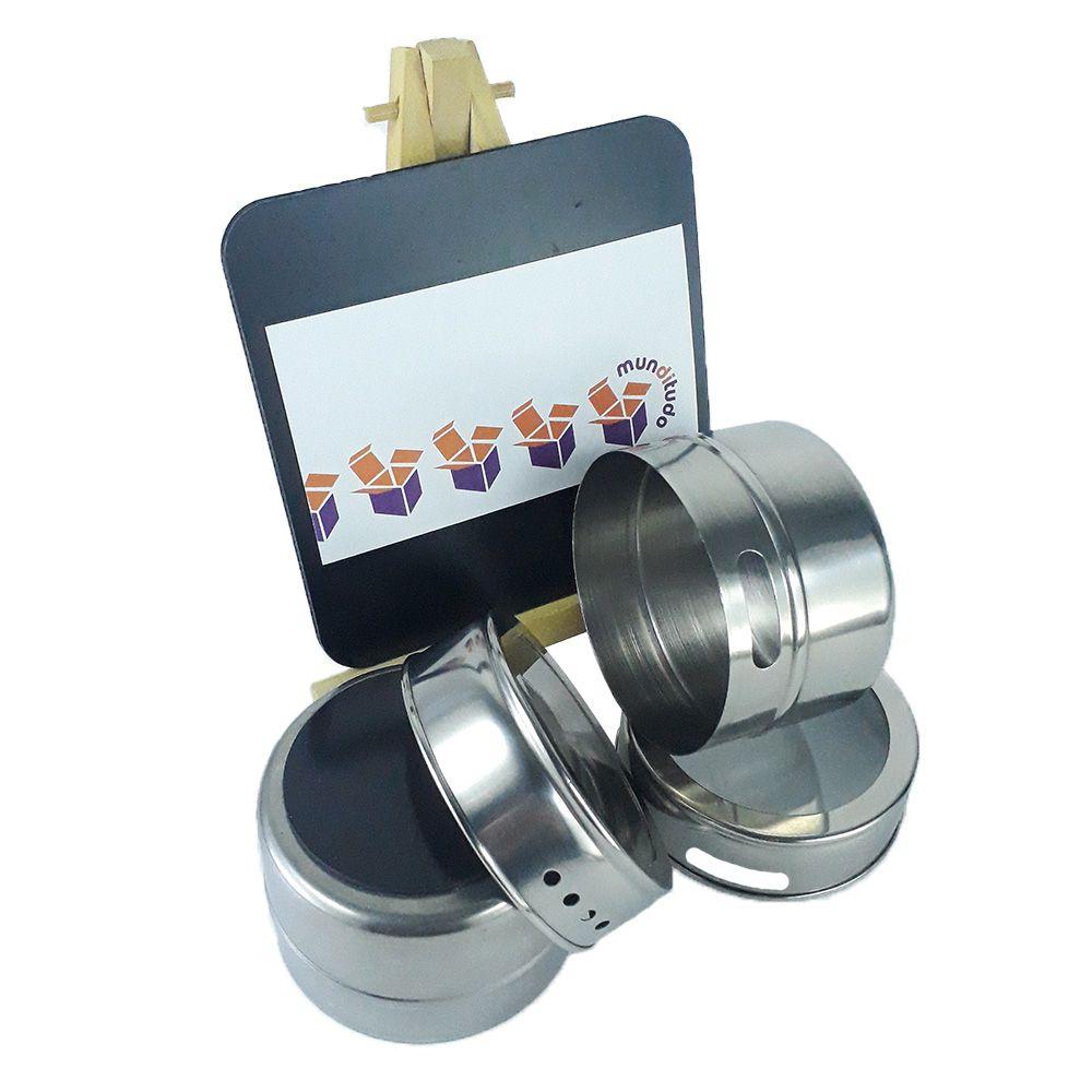 Porta Temperos 6 Potes Inox Magnético Quadro Cozinha 100606