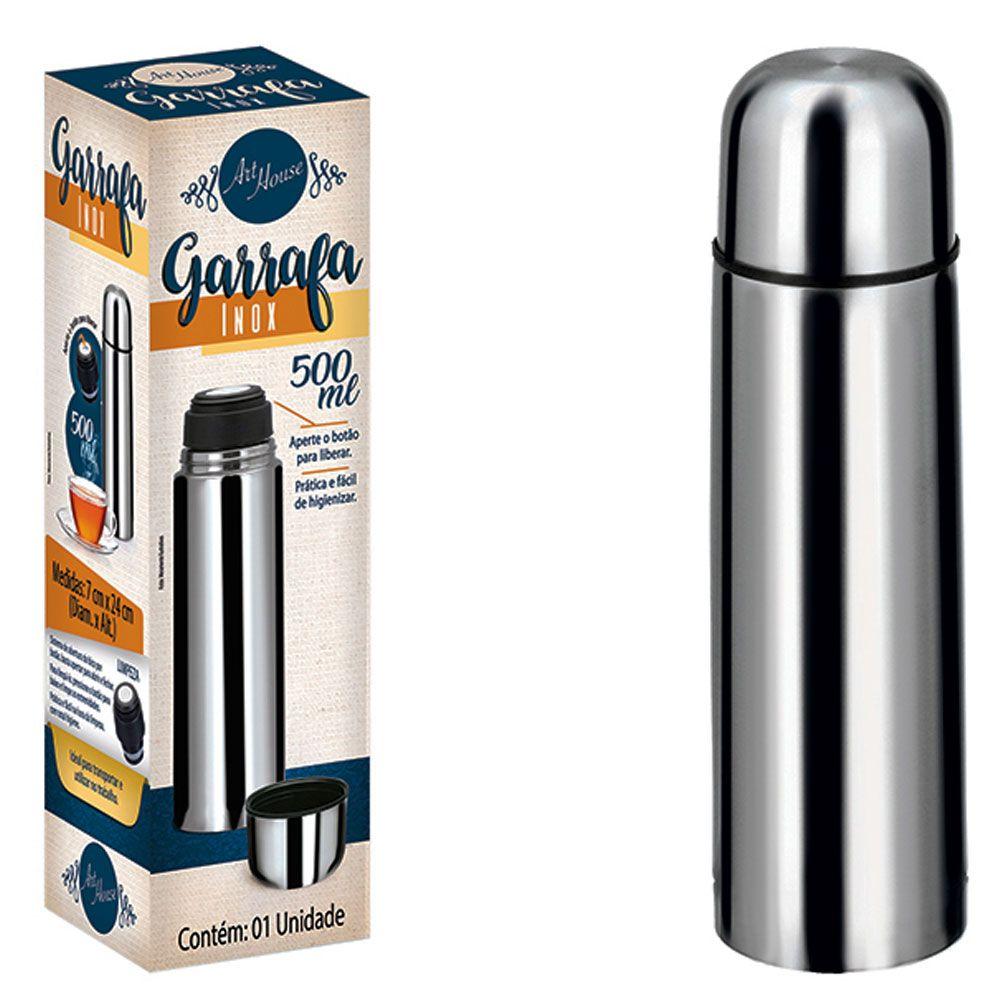 Garrafa Térmica Clássica portátil de Aço Inox Inquebrável 500 ml