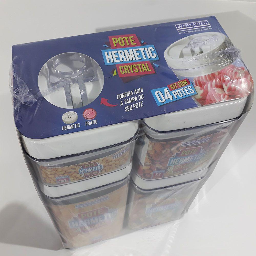 Kit com 4 Potes Herméticos Quadrados