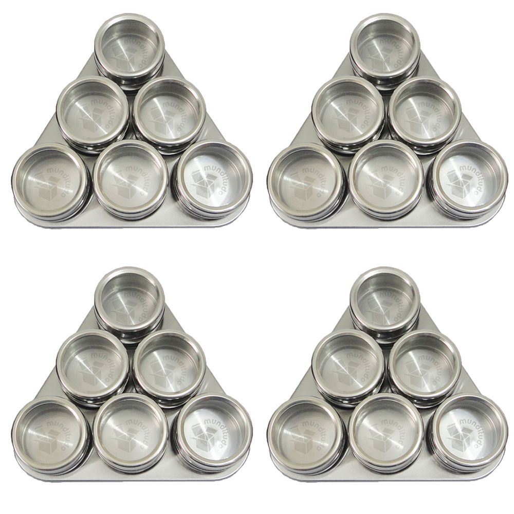 Porta Condimentos E Temperos Magnéticos Aço Inox 24 Potes