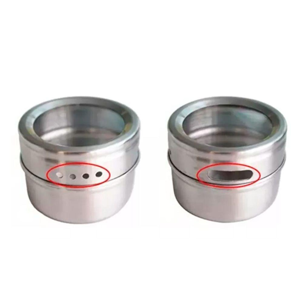 Porta Temperos 6 Potes Inox Magnético Quadro Cozinha 100706