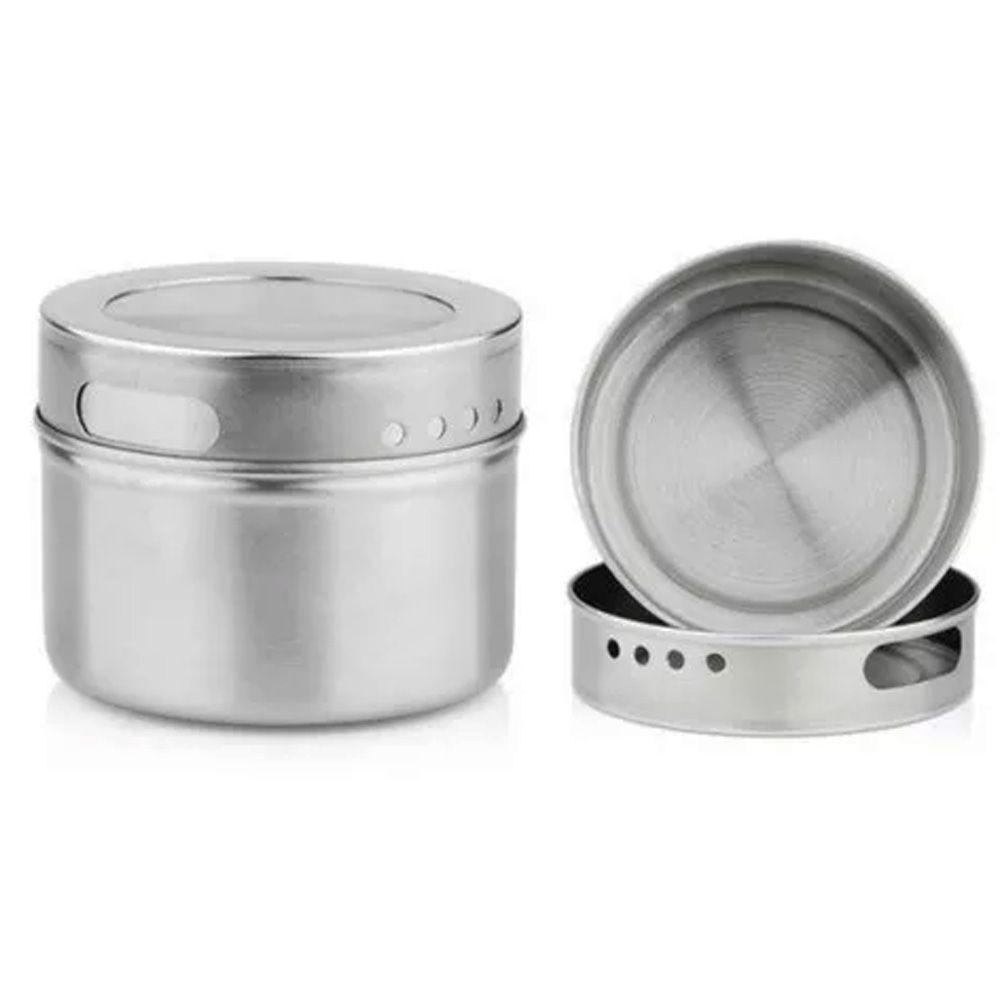 Porta Temperos 6 Potes Inox Magnético Quadro Cozinha 100806