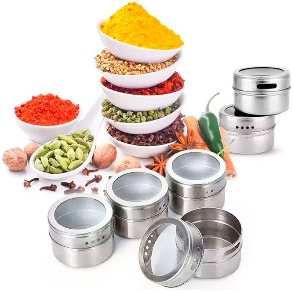 Porta Temperos 6 Potes Inox Magnético Quadro Cozinha 100906