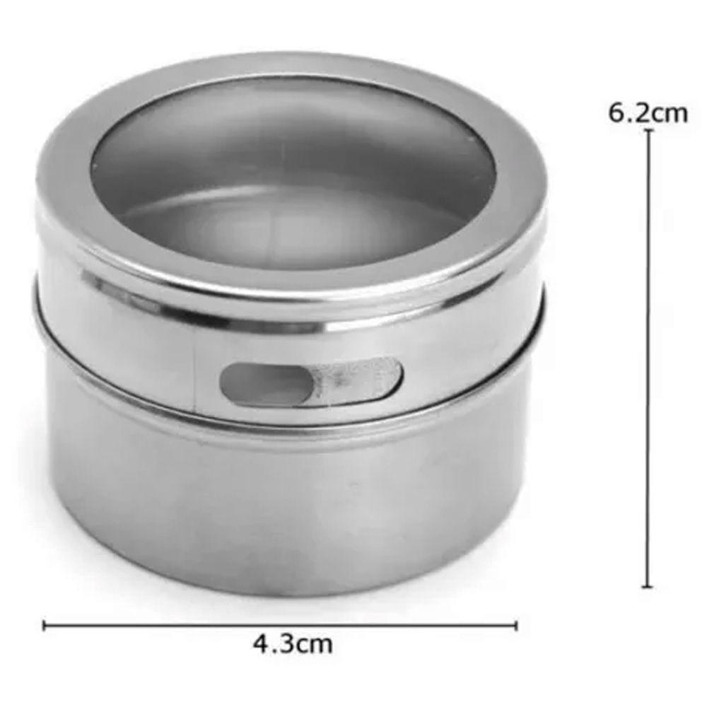 Porta Temperos 6 Potes Inox Magnético Quadro Cozinha 101806