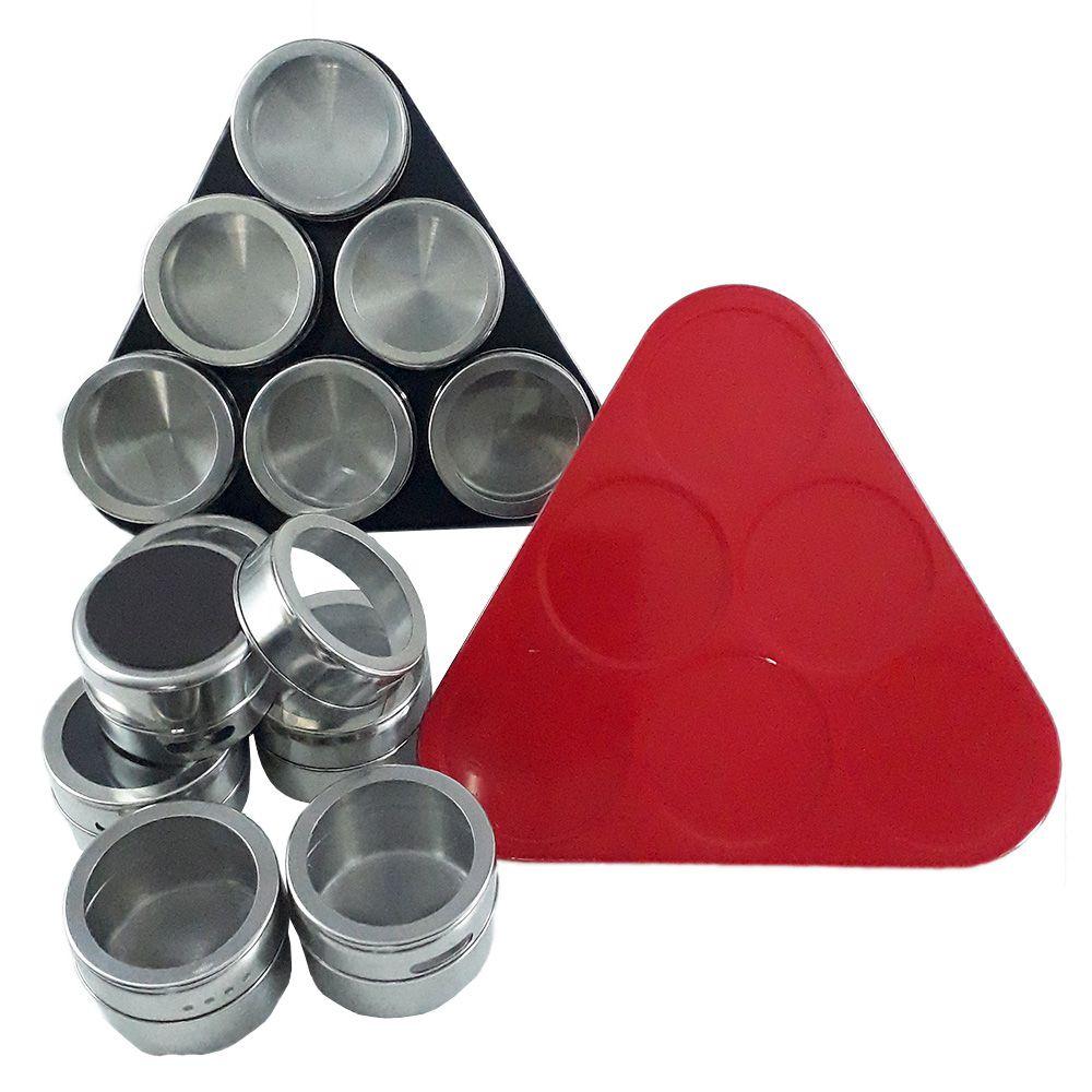 Porta Temperos E Condimentos Com Imã Em Aço Inox 12 Potes
