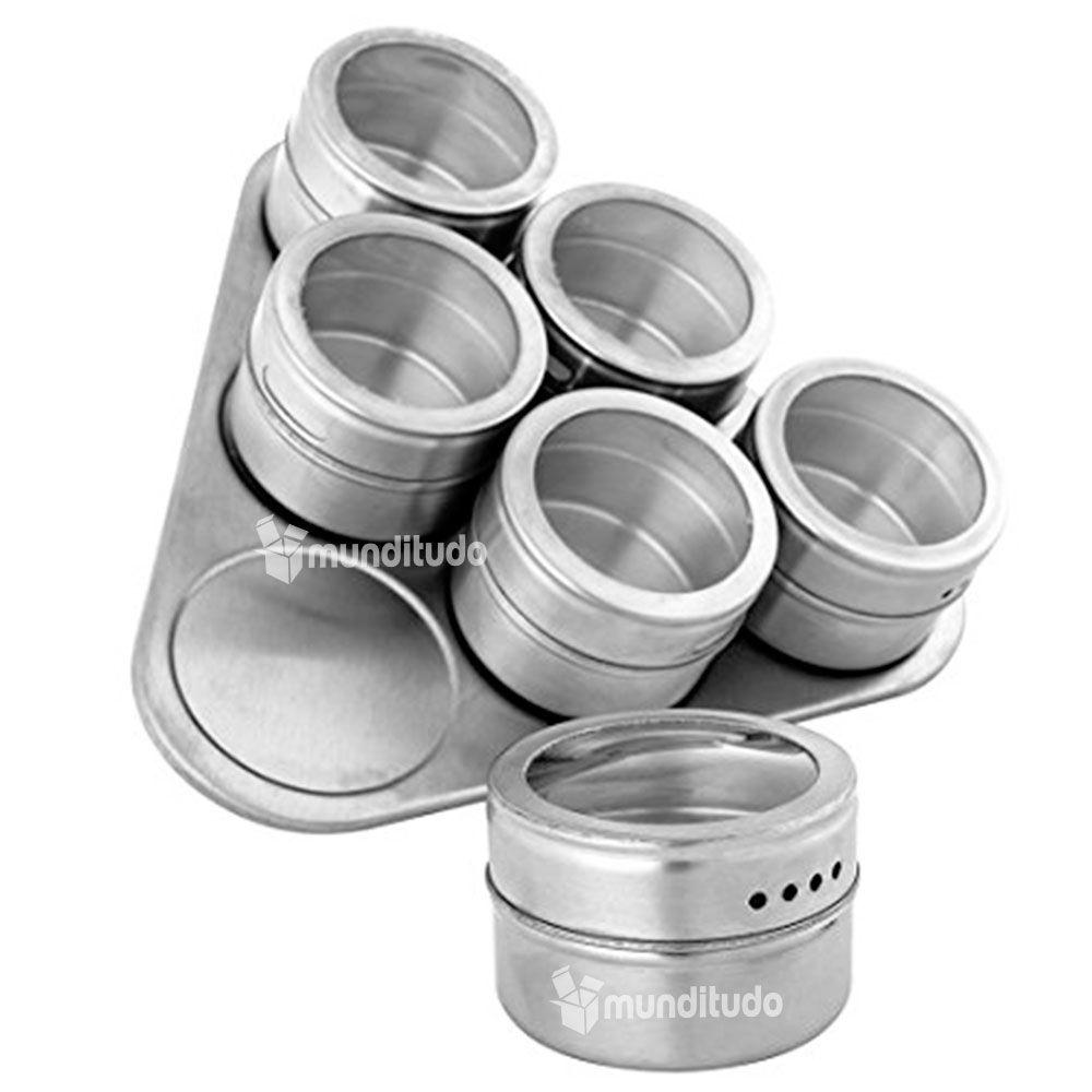 Porta Temperos E Condimentos Em Aço Inox Magnético 6 Potes
