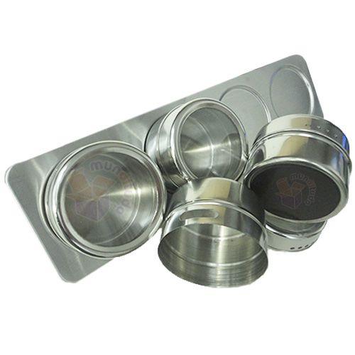 Porta Temperos E Condimentos Magnéticos Aço Inox 20 Potes
