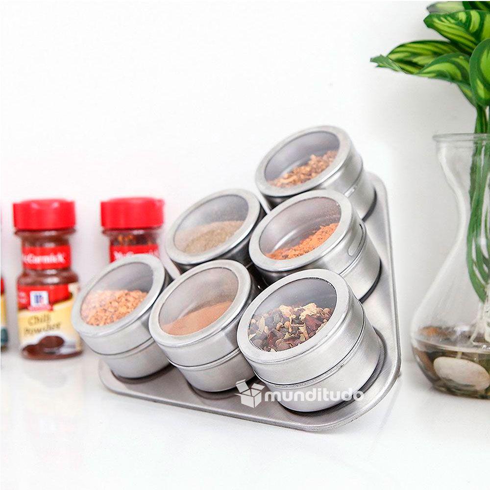 Porta Temperos E Condimentos Magnéticos Aço Inox 30 Potes
