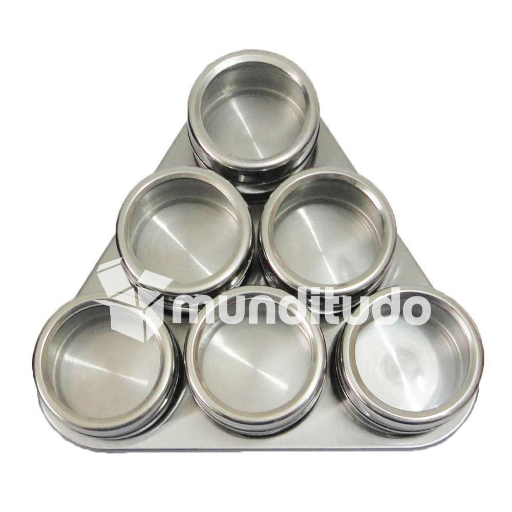 Porta Temperos E Condimentos Magnéticos Aço Inox 36 Potes