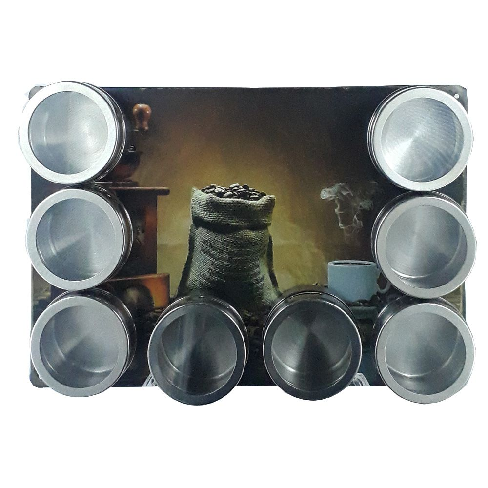 Porta Temperos 8 Potes Inox Magnético Quadro Cozinha 101308