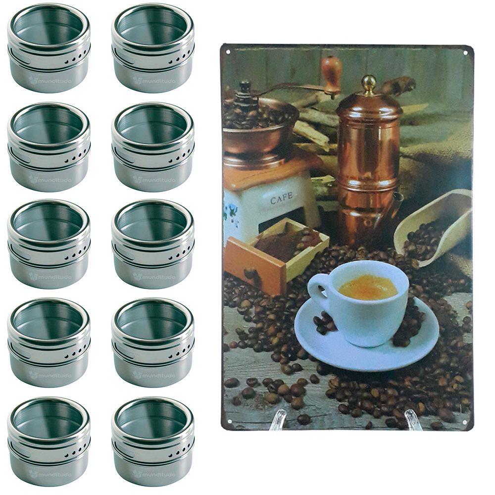 Porta Temperos 10 Potes Inox Magnético Quadro Cozinha 101410
