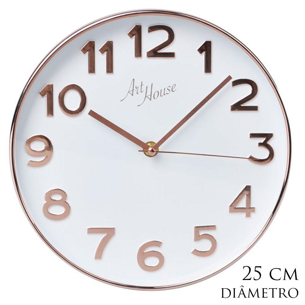 Relógio de Parede Dourado Clássico Com Fundo Branco ou Preto 25cm