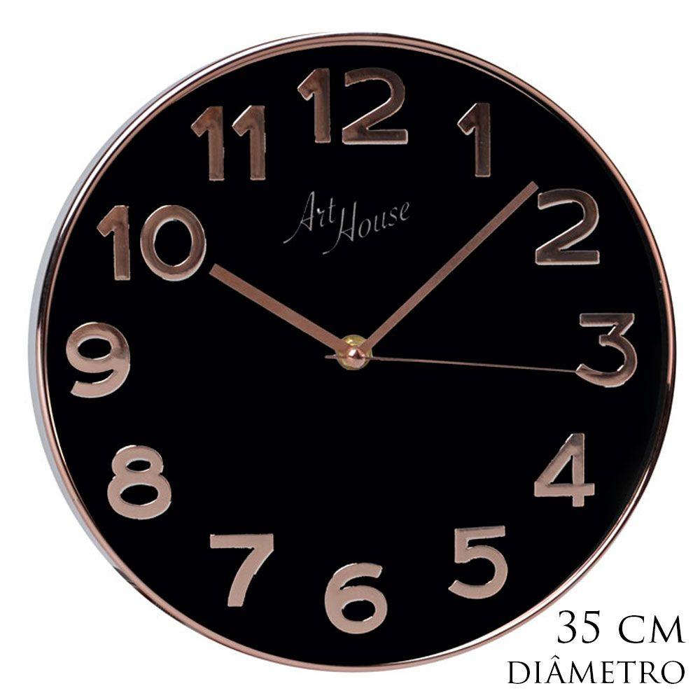 Relógio De Parede Dourado Clássico Com Fundo Branco Ou Preto 35cm