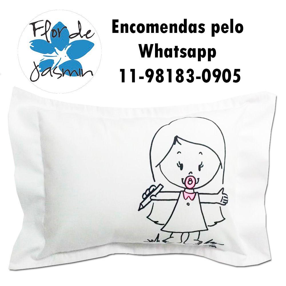 Travesseiro Personalizado Menina Lápis M 30 cm x 40 cm