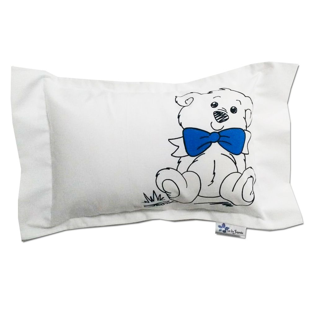 Travesseiro Personalizado Urso Laço Azul M 30 cm x 40 cm