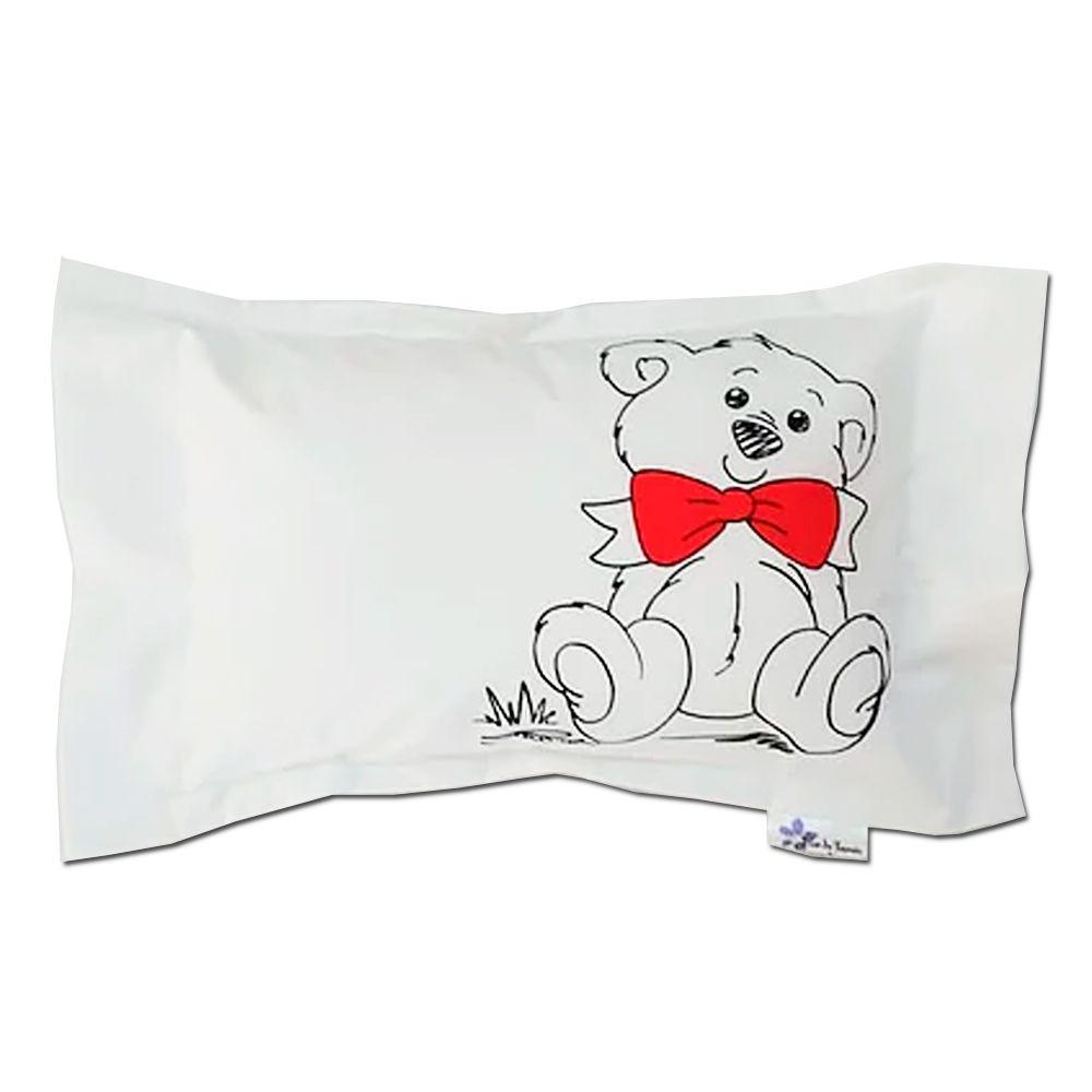 Travesseiro Personalizado Urso Laço Vermelho P 20 cm x 30 cm