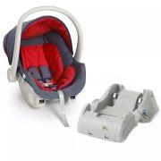 Kit bebê conforto Galzerano Cocoon 8181 Jeans/Vermelho com base para carro 8185