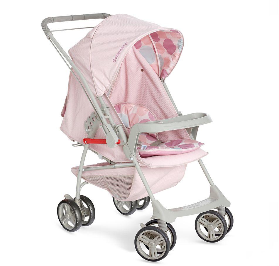 Carrinho Bebê Galzerano Milano Reversível Rosa Bebê com Bebê Conforto e base