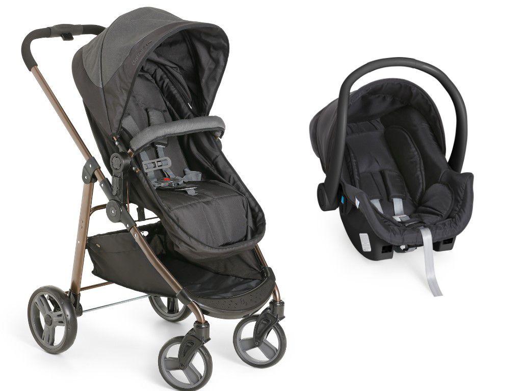 Carrinho Bebê Galzerano Olympus Black 1440 com Bebê Conforto Cocoon
