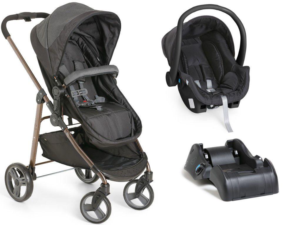 Carrinho Bebê Galzerano Olympus Black 1440 com Bebê Conforto Cocoon e Base