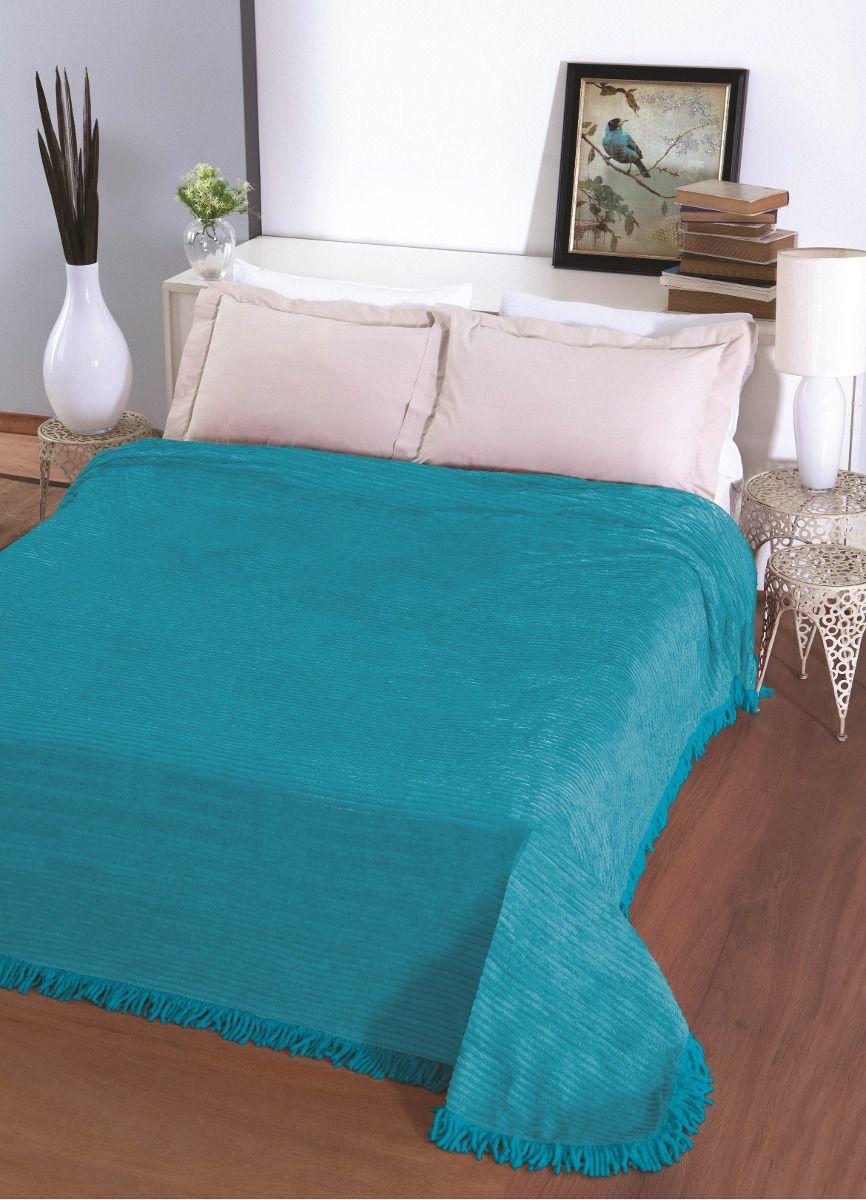 Colcha Chenille Casal Jolitex Carisma 220 x 240 cm Azul