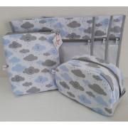 Kit Maternidade - 3 Saquinhos + 2 Necessaires Retangular + Nec Viagem