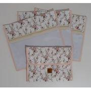 Kit Maternidade Floral - 3 Saquinhos + Porta Fraldas Portátil