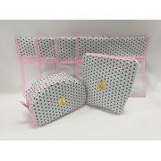 Kit Maternidade Geométrico Triangulo Rosa com Tiffany- 3 Saquinhos E 2 Necessaires