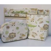 Kit Maternidade Safari Azul - 1 Saquinho E 2 Necessaires + Capa