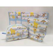 Kit Maternidade Safari Azul - 3 Saquinhos E 1 Necessaire + Capa