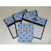Kit Saquinho Maternidade Coroa Azul - 3 Unidades + 1 Necessaire