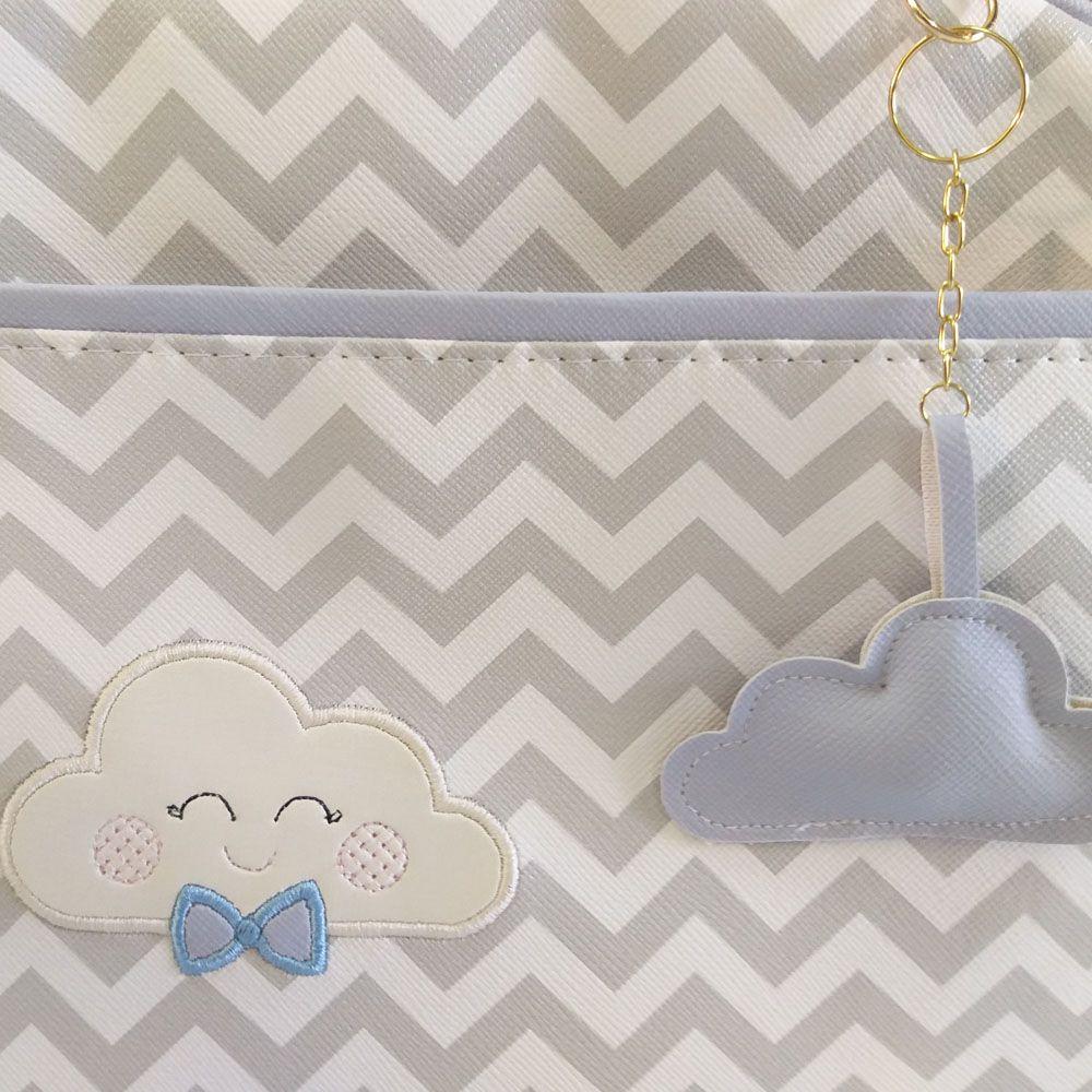 Kit Bolsa Maternidade Chevron Cinza com Nuvem Azul - 3 Peças